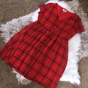 Red and black plaid babydoll dress